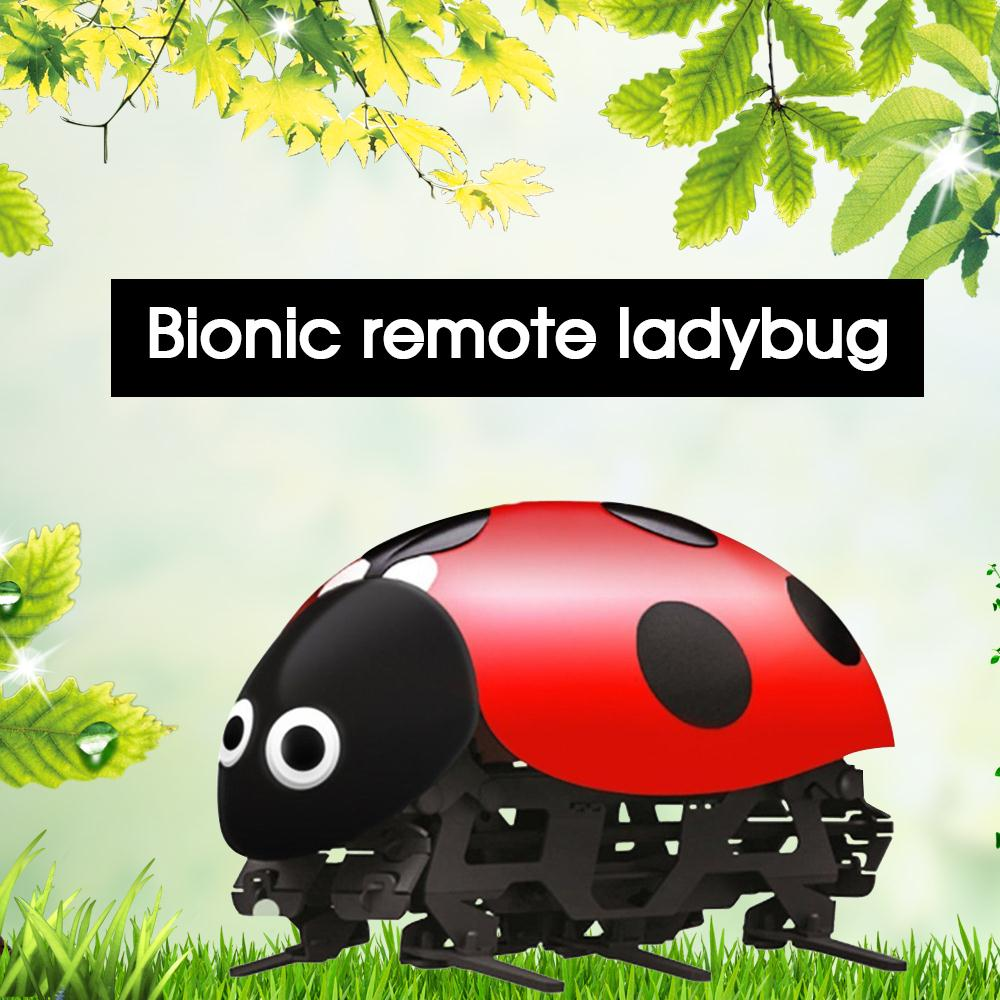 RC Ladybug Electric Simulate Ladybug Beetle Electronic Remote Control Toy Funny DIY Robot Toys For Children Kids Christmas Gift electric track racing car 1 43 620cm rail road roller double rc toy for boys gift kids toy cars educational toys for children