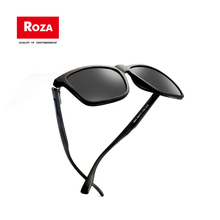 Roza Polarized Sunglasses Unisex TR90 Retro Square High Quality Glasses For Men/Women Leather Frame Oculos De Sol UV400 RZ0628