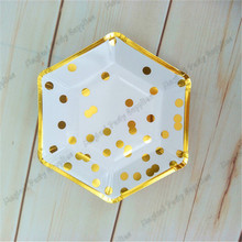 120pcs Gold Foil Polka Dot Paper Plate Hexagon Small 7inch Dishes for baby Shower Birthday Wedding New Year Christmas