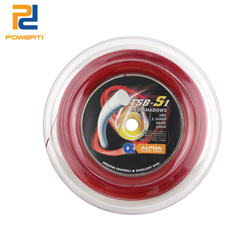 POWERTI TRED SHADOWS 18G/1.16mm Durable Polyester Tennis String 200m Reel Control Round Tennis String powerti ts 4g 1 3mm tennis string polyester 200m reel tennis string sport gym tennis racquet training tennis lines for outdoor