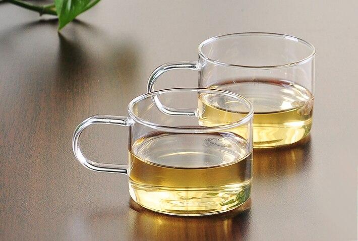 4 pçs/lote 80 ML material de vidro resistente ao calor xícaras de chá camada única 100% artesanal copo com alça da caneca do SISTEMA OPERACIONAL 0066