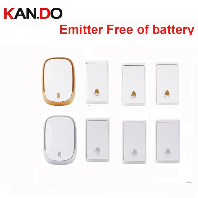 Hot Bell Kits 3 Push 1 Receiver Wireless Door Bell Emitter Free Of Battery Wireless Doorbell Ip44 200M Work Chime Door Ring