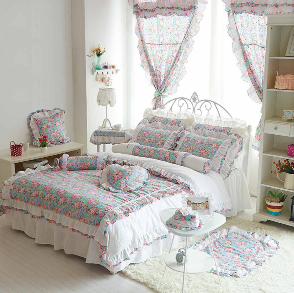 Colorful flower bedding - Cute Flower Bedding Set Teenages Girls Cotton Twin Full Queen King Single Double Home Textile