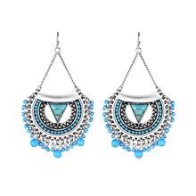 2016 Hot  Boho Earrings Popular 2 Colors Alloy Beads Vintage Big Drop Earrings New Women Statement Earrings Max Brincos Jewelry