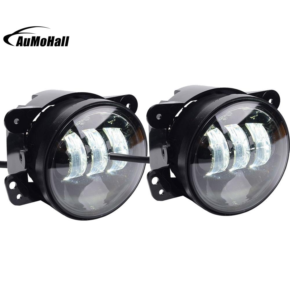 1 Pair 4 Black 30W Front Bumper Led Fog Light LED Fog Driving Lights for 2007-2016 JK CJ TJ White Lamp