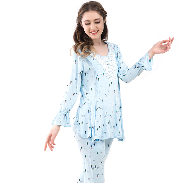 2018 Summer Nursing Pajamas Lace Stitching Print Maternity Nightwear Ruffle Long Sleeves Spring Autumn Suit for Pregnant Women