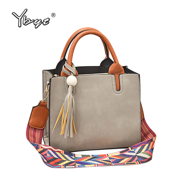YBYT brand 2017 fashion color strap women totes casual PU leather tassel handbag hotsale ladies shoulder messenger crossbody bag luxury genuine leather bag fashion brand designer women handbag cowhide leather shoulder composite bag casual totes