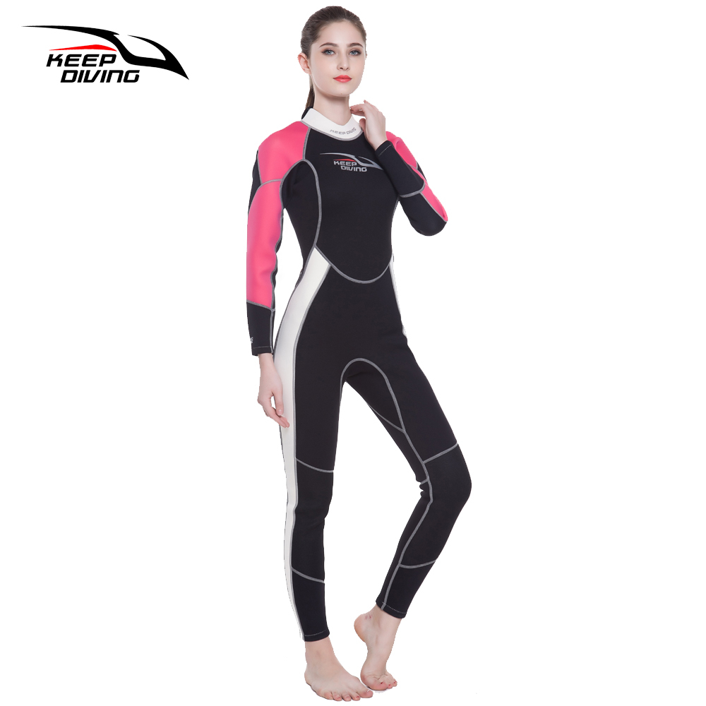 KEEP DIVING Womens 3MM Neoprene One-Piece Scuba Dive Wet Suit Wetsuits for Winter Swim Surfing Snorkeling Spearfishing Equipment - 3