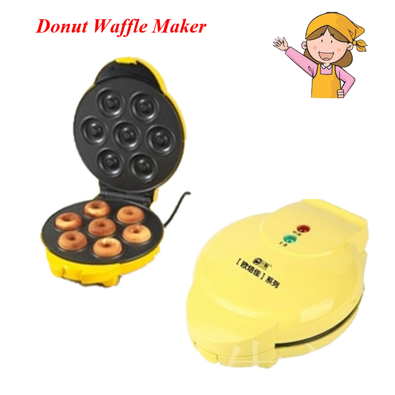 1PC 750W Two-Side Heating Full Automatic Electric Donut Waffle Maker Egg Cake Making Ball Mould Machine FS-508N electric 6 holes dounts cookie making machine 1 5kw donut maker machine plate round cake machine