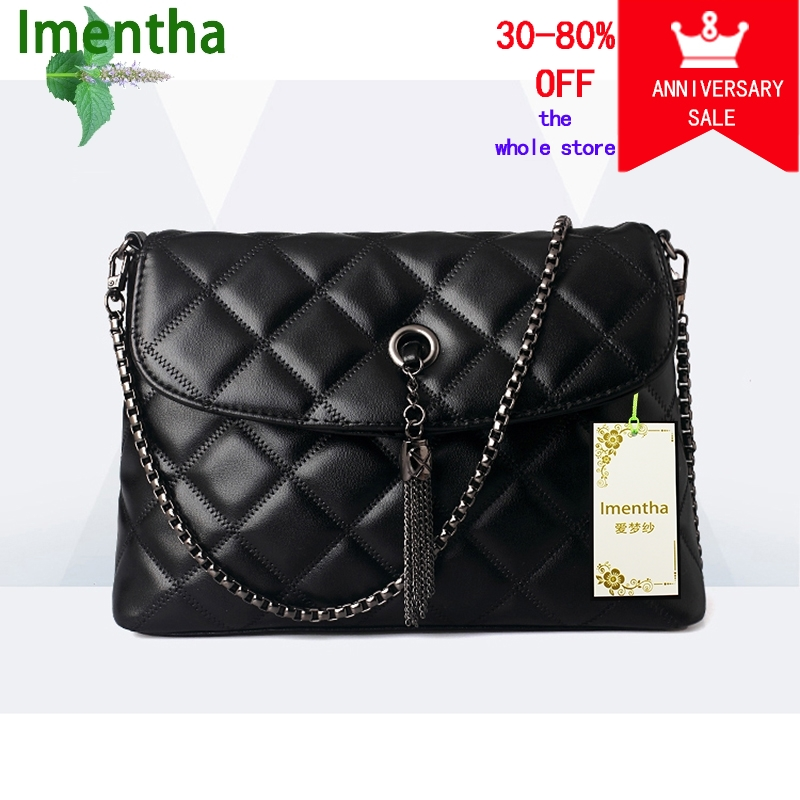 wome lánctáska Quilted Leather Women táska női fekete kockás kézitáska, egy fő femme Tassel Lady válltáska