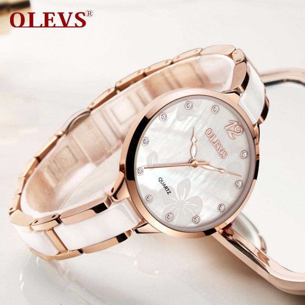 78af633e2 OLEVS النساء الفاخرة ووتش الإناث ارتفع الذهب أنيقة الماس السيدات الكوارتز  ساعة معصم للماء ساعة سيراميك