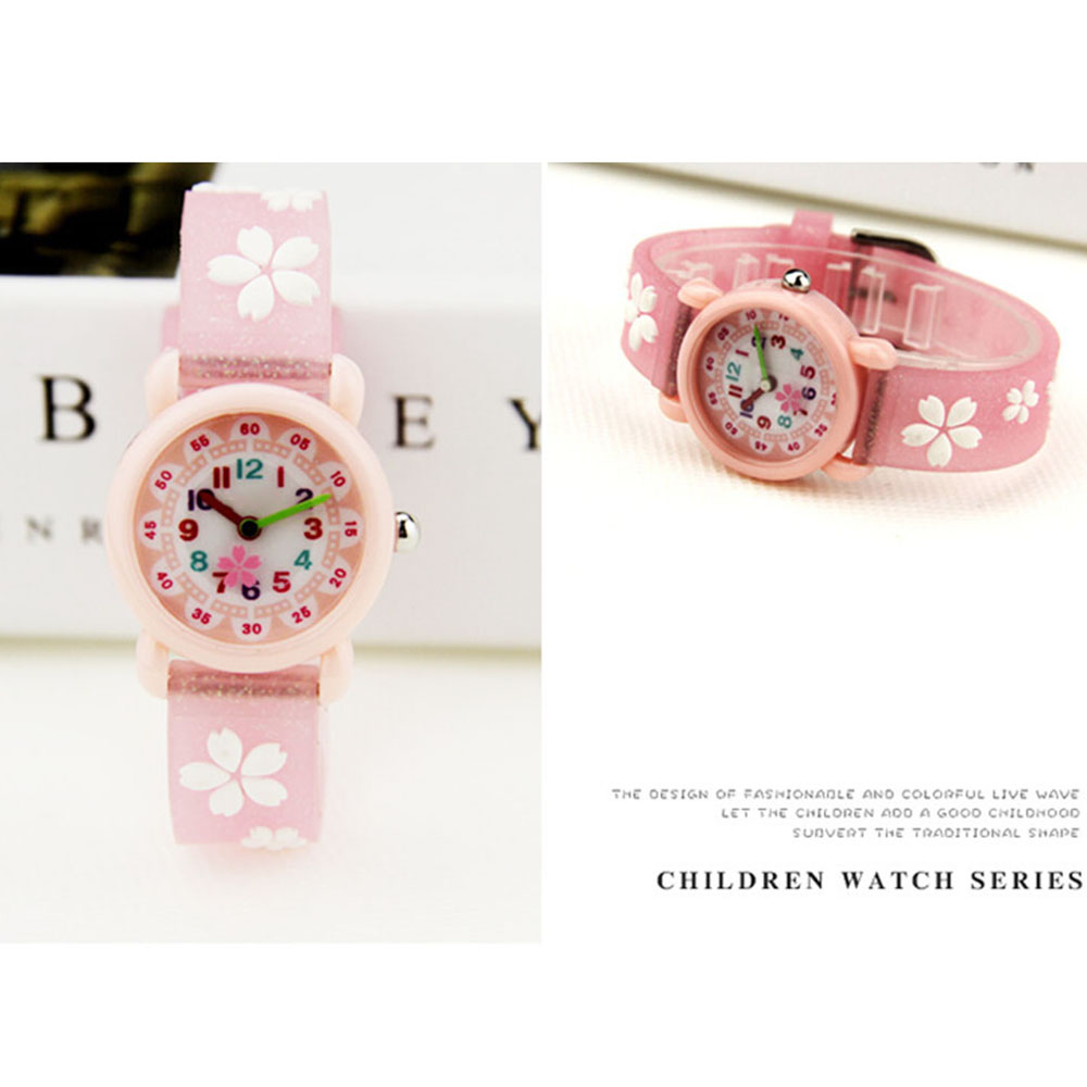 3D Flower Glitter Strap Quartz Kids Watches Cartoon Silicone Children Watches For Boys Girls Cute Clock  Relogio Feminino