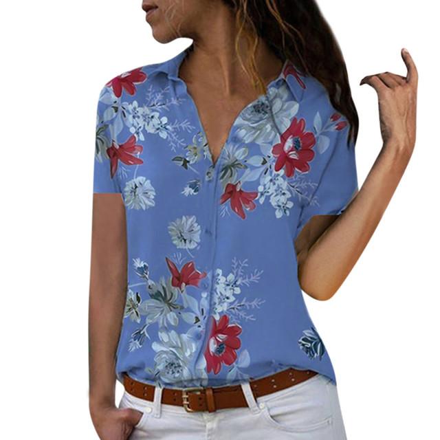 Women tops Plus Size Loose Print V-neck Long Sleeve Print Blouse Pullover Tops Shirt Blouse Women Summer Office Shirts Elegant
