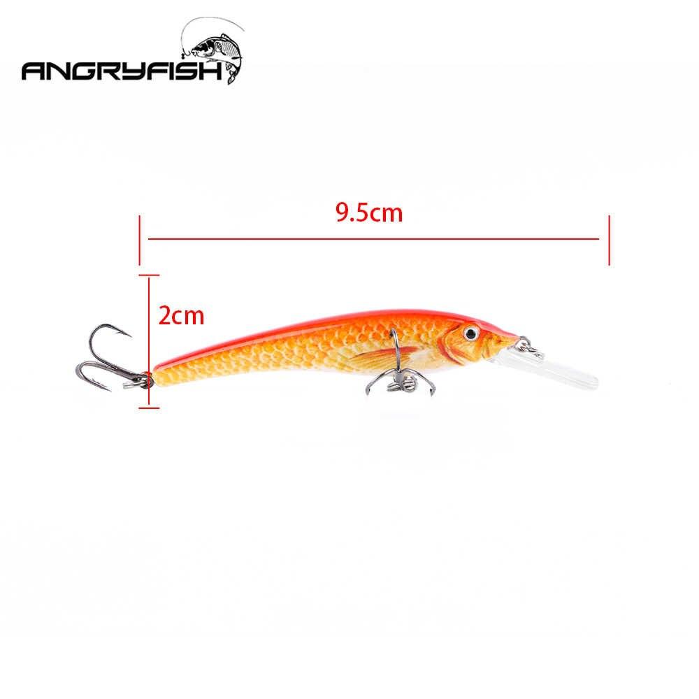 Angryfish Новинка 3D глаза 9,5 см 5,5 г рыболовная приманка whopper plopper 4 цвета Реалистичная твердая приманка для рыбалки Crankbait с сильным крючком
