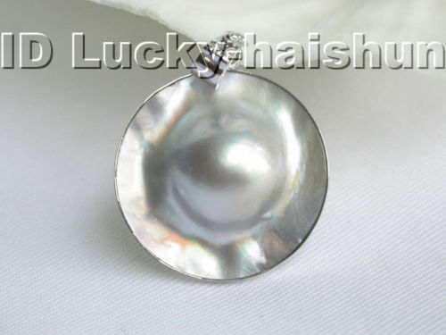 Pendentif perle Mabe blanc mer du sud 25mm 925ss