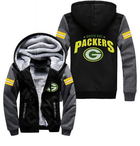 USA size Men Women Green Bay Packers Zipper Jacket Thicken