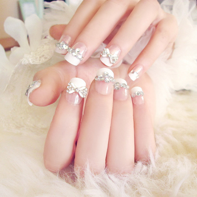 24pcsset Pretty Bowknot Rhinestone Wedding Bride Nail Art Full