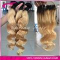 Color 2 Tone Brazilian Hair Body Wave Ombre Dark Blonde Hair Weave Bundles With Closure T1b 27 Hair Extensions Free Shipping