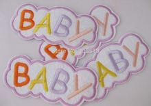 AE072 Iron on patches 10pcs BABY 100mm*45mm children garment accessory