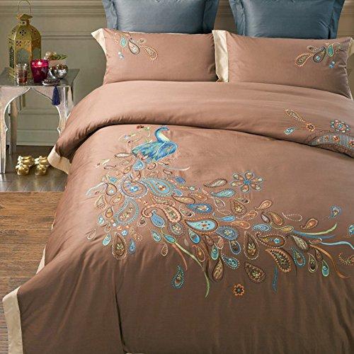 WINLIFE нежный павлин дизайн постельные принадлежности, бренд 100% ручной работы одеяло с вышивкой крышка, Необычные Павлин постельное белье с в