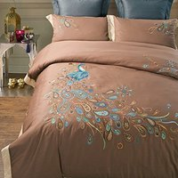 WINLIFE Delicate Peacock Design Bedding,Brand 100% Handmade Embroidered Quilt Cover,Fancy Peacock Embroidered Bed Linen,4Pcs