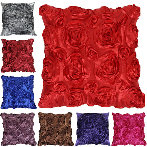 Best Satin 3d Rose Flower Square Throw Pillow Cushion Case