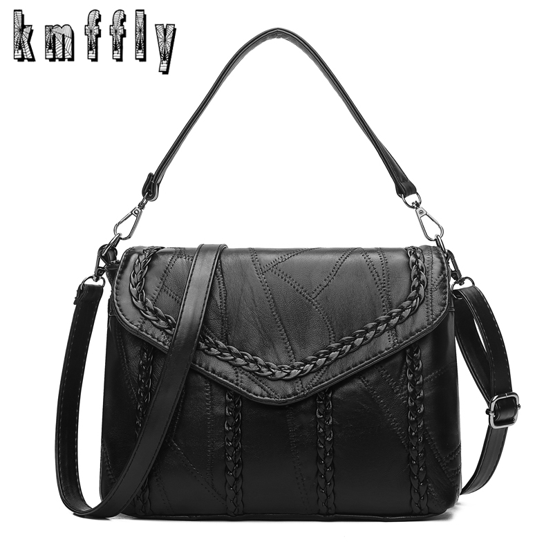 KMFFLY Vintage Crossbody Bags for Women Black Sheepskin Shoulder Bags Famous Designer Brand Bags Women Leather Handbags Bolsa