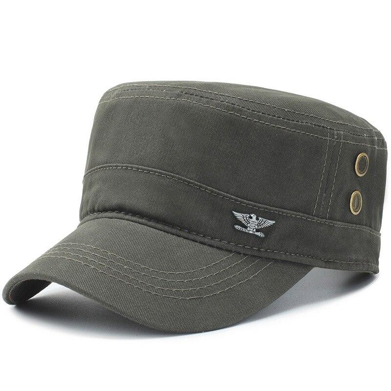 20ef6acb68de 2019 sombrero con visera de Sol para hombre gorra militar sombreros planos  de algodón negro del ...