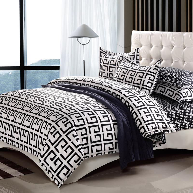 paris fashion black white king queen double full twin size bedding set doona duvet cover bed. Black Bedroom Furniture Sets. Home Design Ideas