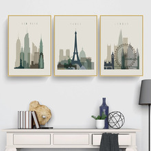Retro Posters Paris London New York Wall Art Prints Watercolor Canvas Paintings Vintage Pictures Modern Home Bedroom Decoration