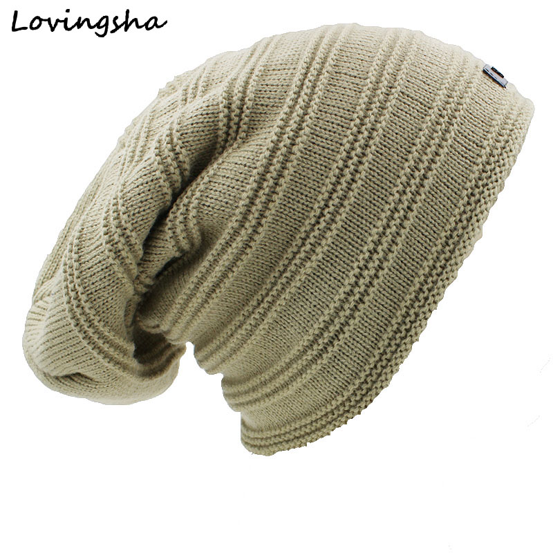 LOVINGSHA Striped Design Beanie Men's Faux Fur Warm Baggy Knitted Knit Skullies Bonnet Winter Hat For Women Men Winter Hat Cap 2017 winter women beanie skullies men hiphop hats knitted hat baggy crochet cap bonnets femme en laine homme gorros de lana