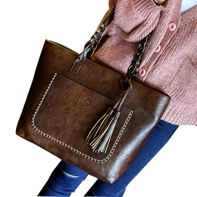 все цены на Black Brown Retro Vintage Women Bag Famous Brand Designer Women Leather Handbags Ladies Shoulder Bags Female Tote Bolsos Mujer онлайн