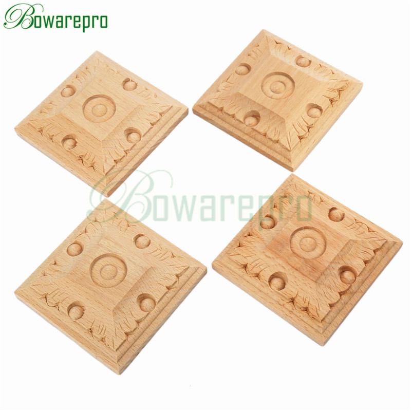 bowarepro 4PCS wood carving Decal Corner wall Doors furniture ...