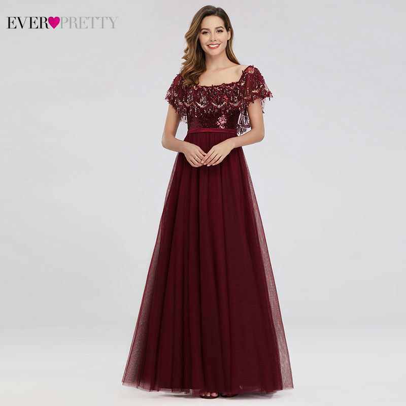 Ever Pretty Tassel Evening Dresses A-Line Off The Shoulder Ruffles Sequined Formal Party Dresses Robe De Soiree Paillette 2020