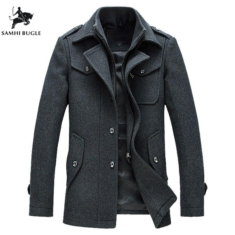 Man Coats Winter Thick Woolen Mens Trench Coat Jacket Hombre Male Fashion Slim Fit Zipper Keep Warm Wool Coat Men