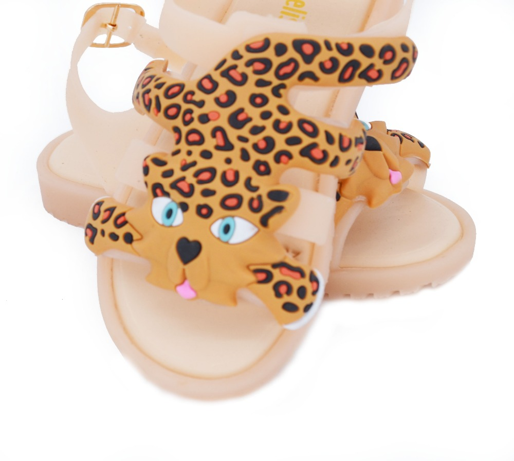 2017 MINI memon sandals for girls and boys Cute Leopard PVC Soft leather children shoes Flat Heels Girls Shoes