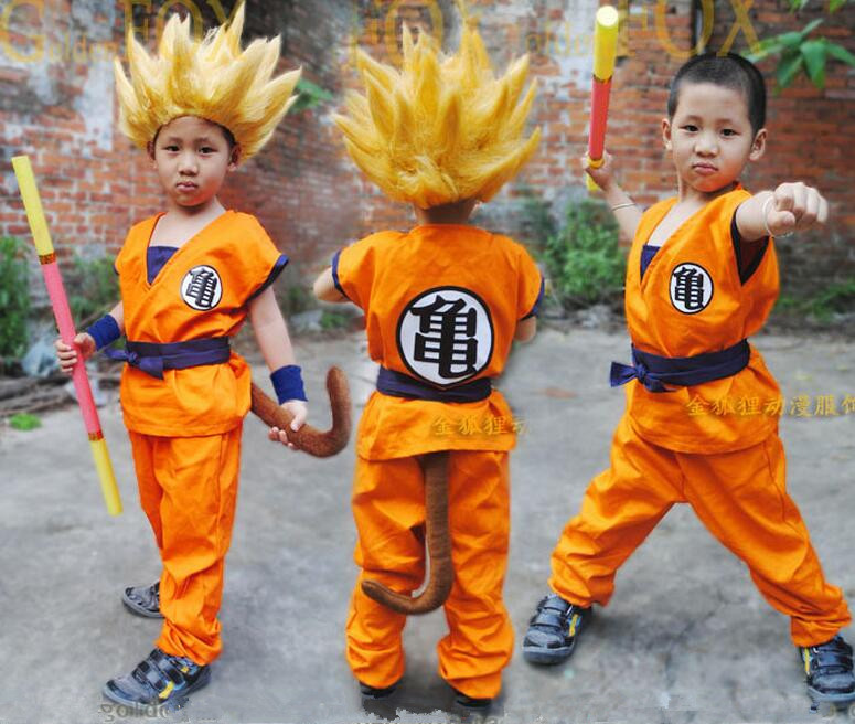Dragon Ball full set Suit for Children kids Goku Halloween Cosplay Costume without wigs
