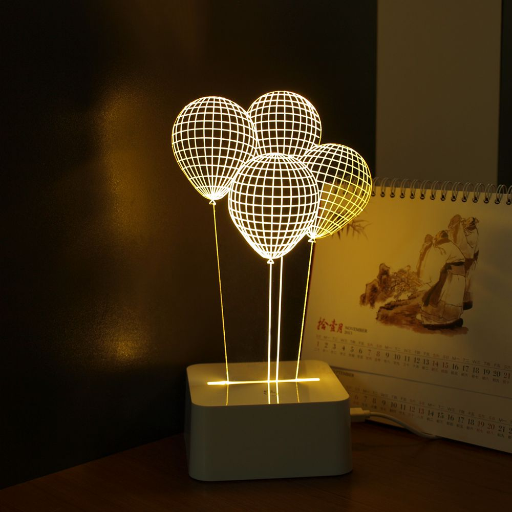 Balloon novelty usb touch 3d night light three dimensional for Lights for home decor