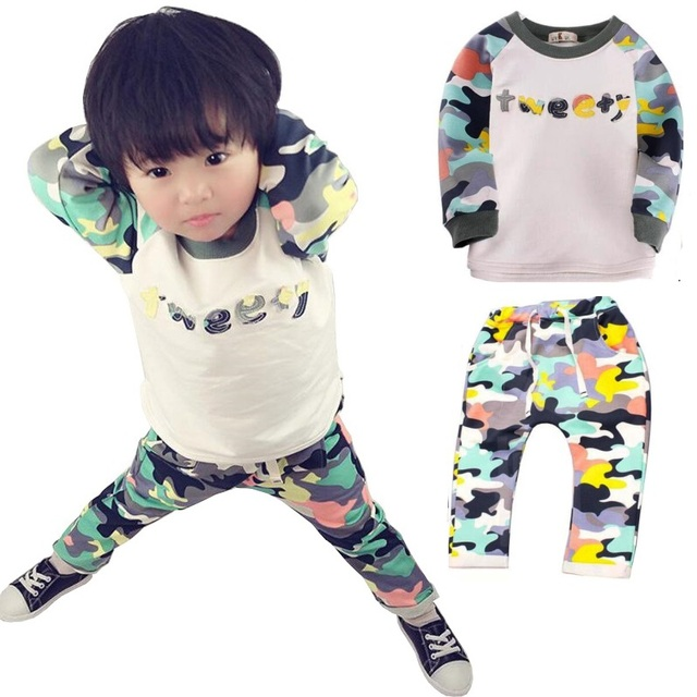 0-24M Baby Clothes sets Spring Autumn Kids Camouflage set Baby Boys Clothes Long Sleeve Shirt Tops+Pants Outfit 2pcs In Set
