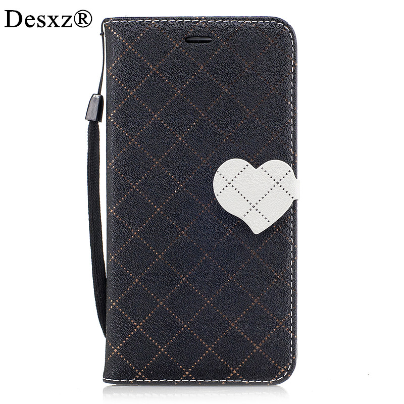 Desxz Hit Love Heart Phone Case for Huawei Y6II Luxury Love Splicing Leather Phone Case for huawei y6ii Y6 II Stand Phone Cases