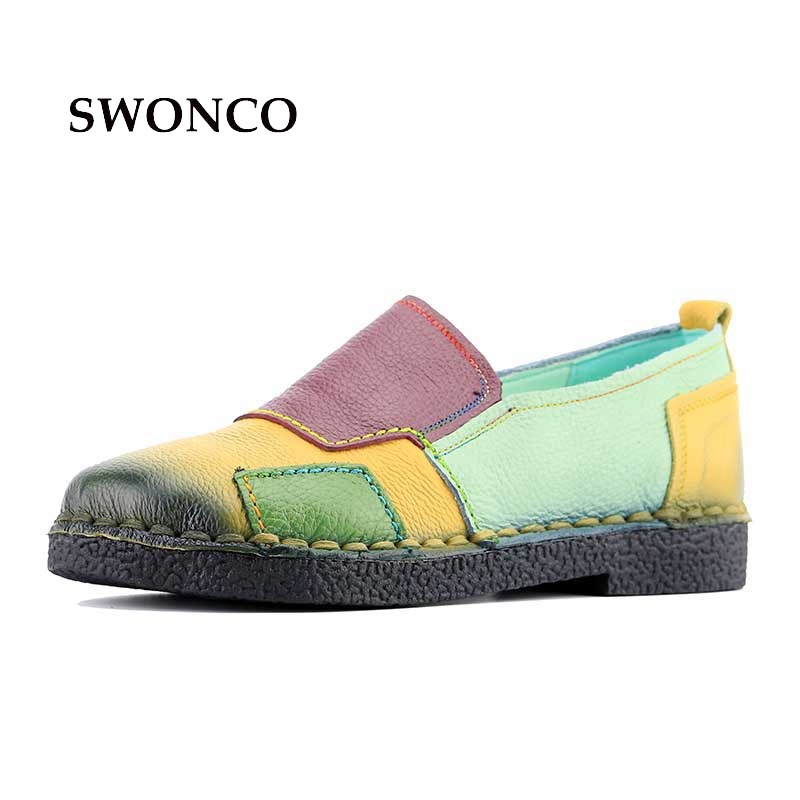 Women's Flats Ladies Shoe Genuine Leather Handmade Casual Shoe Soft Loafers Autumn Women Shoes Leather Mixed Colors Shoes gktinoo bow tassel loafers shoe for women handmade genuine leather soft flats autumn driving shoe round toe women flats
