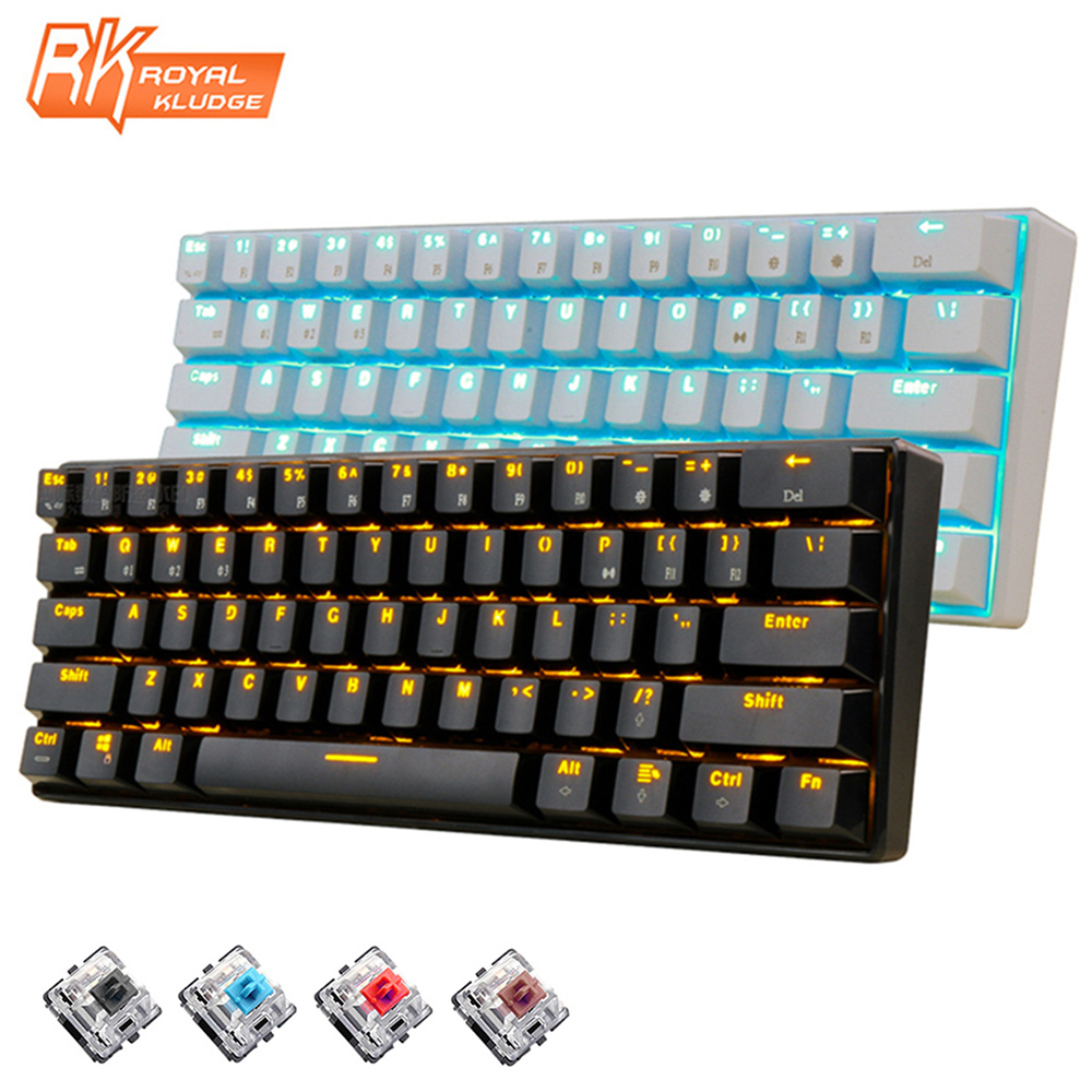 New 61 Keys RK61 Bluetooth Wireless White LED Backlit Ergonomic Mechanical Gaming Keyboard Gamer illuminated For Laptop Computer