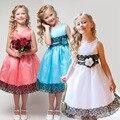 Vestido de la muchacha ropa de las muchachas de la princesa elsa dress floral vestidos del banquete de boda vestido del bebé