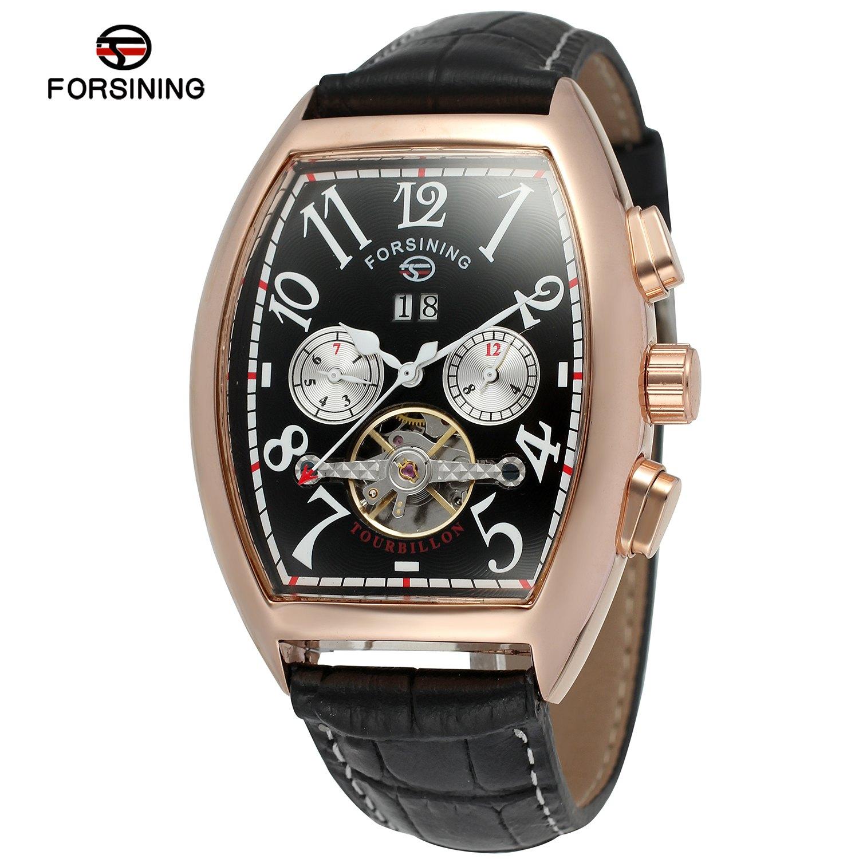 Forsining Date Affichage Tonneau Boîtier en Or Rose Hommes Montres Haut De Luxe Montre Automatique Bracelet En Cuir Horloge Hommes Tourbillon Montre
