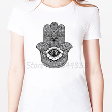 bc436356 Hamsa eye hand Print Women tshirt Modal Casual Loose Funny t shirts For Lady  Top Tee