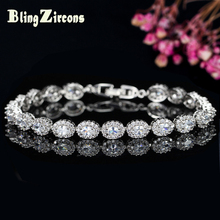 BlingZircons Brand Women Silver Plated Jewelry Oval Cut Cubic Zircon Simulated Diamond Charming Tennis Bracelet Bangle B044