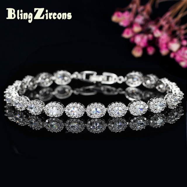 9e1bd3cc401f24 BlingZircons Brand Women Silver Color Jewelry Perfect Oval Cut Cubic  Zirconia Stone Charming Tennis Bracelets Bangles