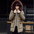Nova moda Grosso Para Baixo Homens Jaqueta de 2016 Jaqueta de Inverno Com Capuz Separado Quente À Prova D' Água Grande Gola De Pele Casaco Frete Grátis