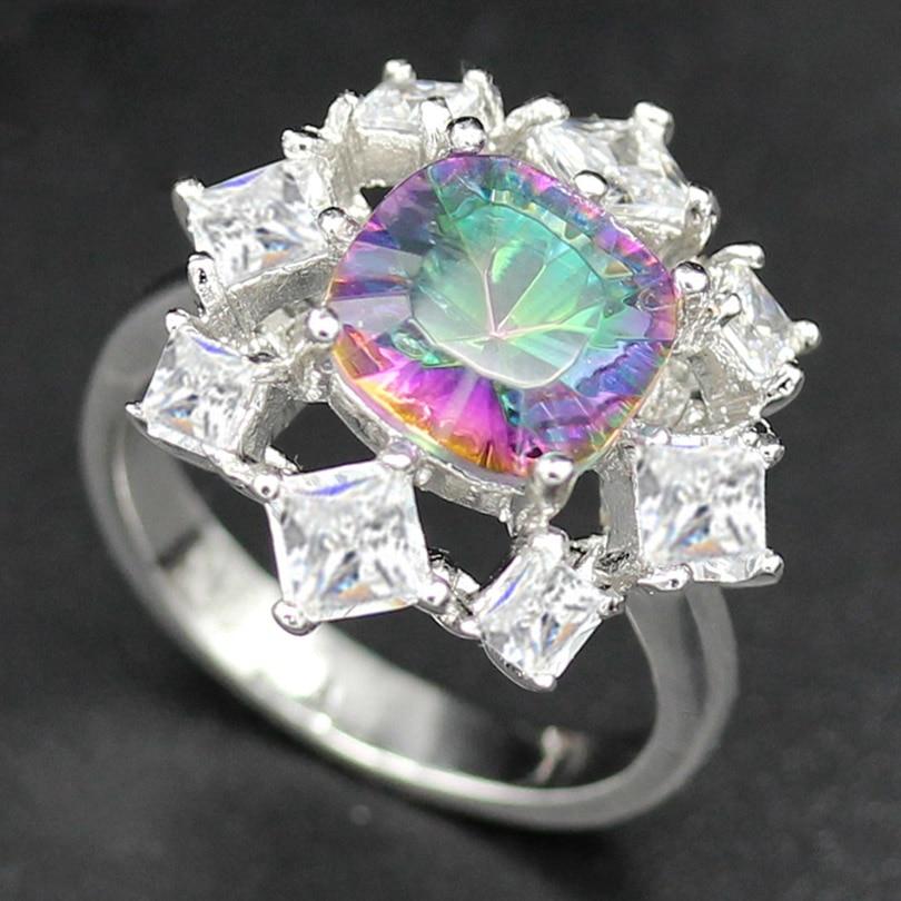 Fleure Esme Rainbow Mystic Stone Women Ring Noble Generous Round Wedding Female Rings Women Jewelry Accessories R780 sz#6 7 8 9