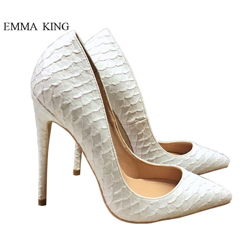 Mode classique Style Stingray peau bout pointu Super hauts talons blanc peu profond Stilettos pompes dames fille fête chaussures de mariage